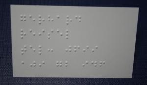 Visitenkarte mit Braille - Rückseite