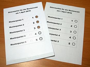 Foto Wahlschablone mit Stimmzettel